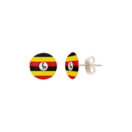 Uganda Flag Earrings - jewelry jewellery unique special diy gift present