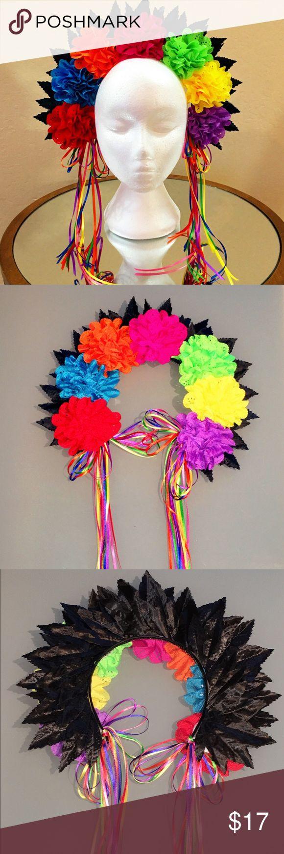 Lace Floral Crown / Headband Handmade , bright & beautiful Lace Floral Crown /Headband great for upcoming festivals, birthdays, weddings etc.... Accessories Hair Accessories