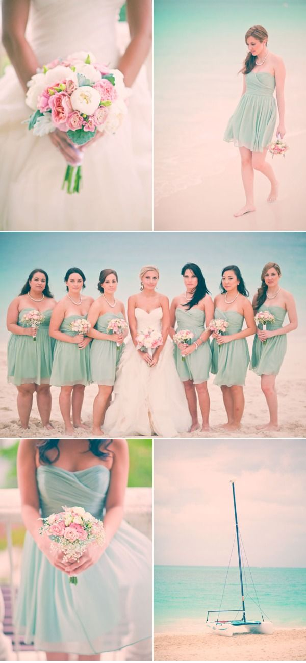 mint and pink love the colors!!!: Ideas, Beaches Wedding Bridesmaid, Bridesmaid Dresses, Tiffany Blue, Than, Beach Weddings, Colors Schemes, Wedding Colors, Flower