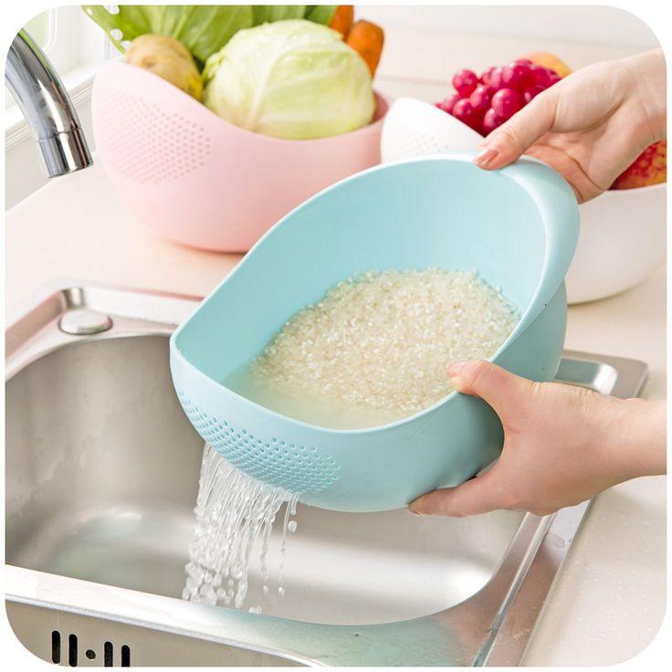 De gran tamaño de la cocina de arroz olla de lavado escurridor de plástico cesta de frutas vegetales espesar cocina cuencos de plástico de almacenamiento de fuga kitch