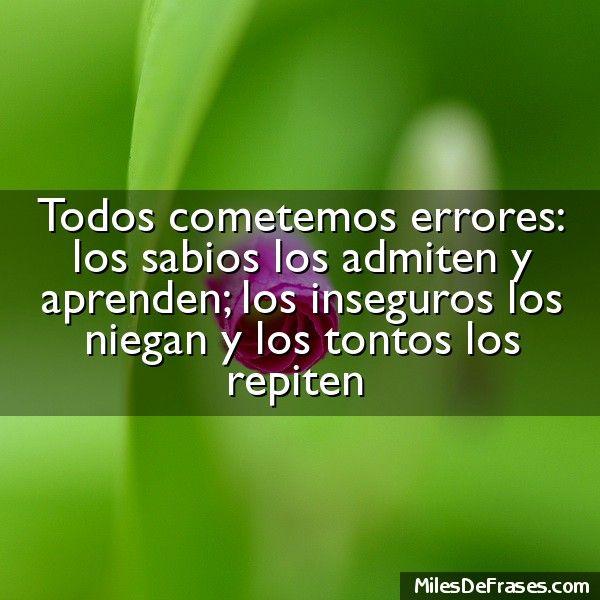 Todos cometemos errores: los sabios los admiten y aprenden; los inseguros los niegan y los tontos los repiten