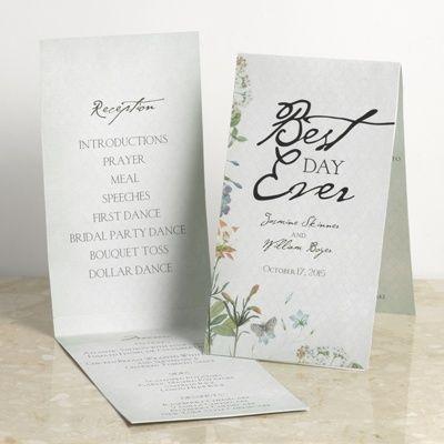 Natural Glade Program Card #weddings #floral #davidsbridalPrograms Cards, Floral Davidsbridal, Glade Programs, Nature Glade, Wedding Floral, Cards Wedding