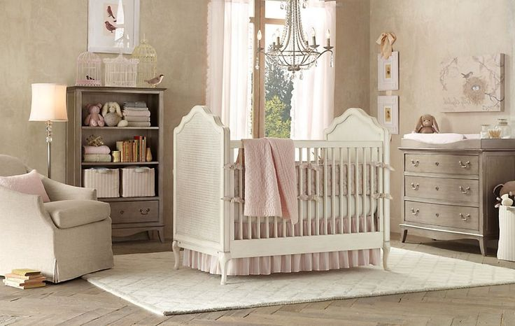 Paintings On Pastel Wall Paint  Brown Carpet Floor Along White Crib Baby Cute Nursery Ideas On A Budget Gray Beige Ruffle