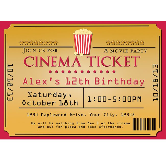 cinema movie theater popcorn ticket birthday party event invitations party invitations. Black Bedroom Furniture Sets. Home Design Ideas