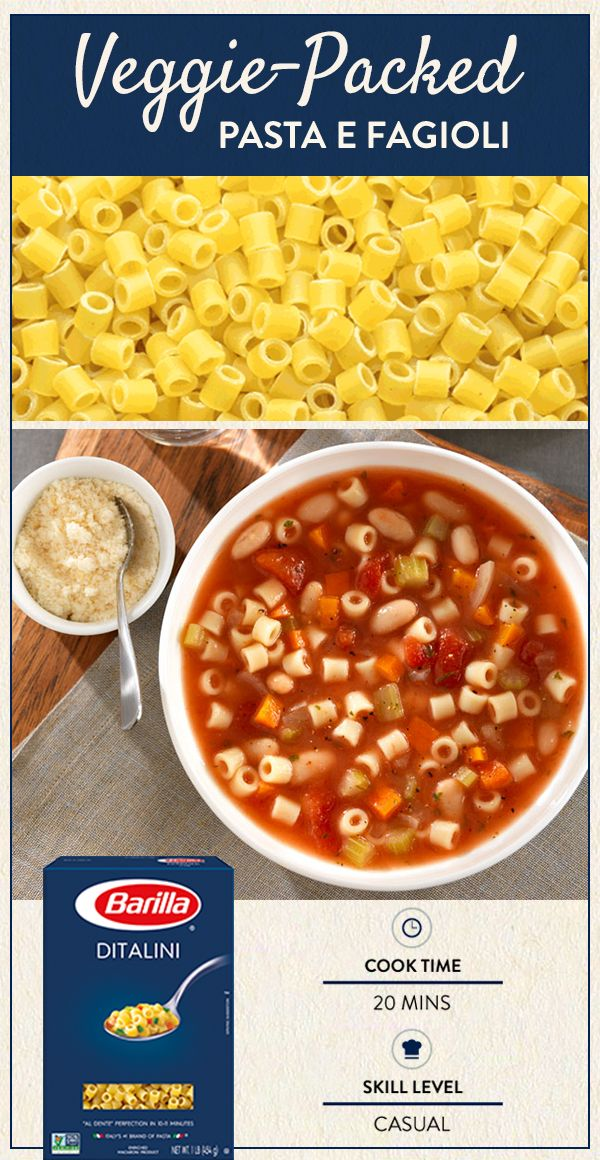 Satisfying and hearty, this delicious Traditional Pasta E Fagioli is easy-to-make and a warming veggie-packed Italian classic. Visit Barilla.com for the full recipe.