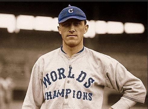 """WORLD SERIES, 1920: Bill Wambsganss of the Cleveland Indians poses wearing the """"World Champions"""" jersey the following season. FIRST AND ONLY: To date, Wambsganss completed the only unassisted completed the only unassisted triple play in World Series history."""
