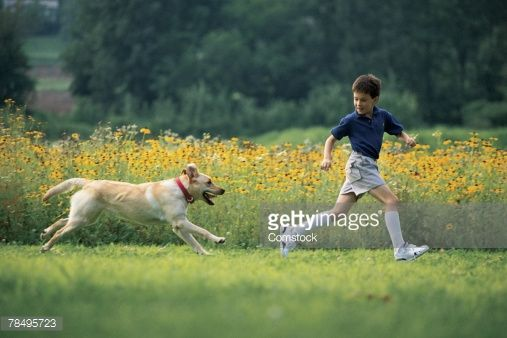 boy running with dog - Google Search