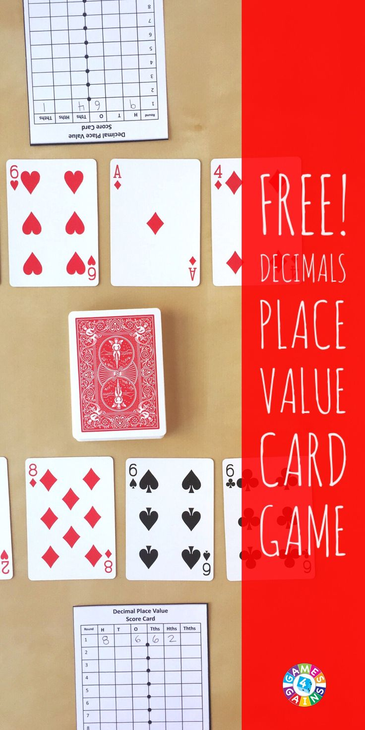 In this quick and easy decimal place value game, students compete against one another to form the highest decimal number using playing cards.