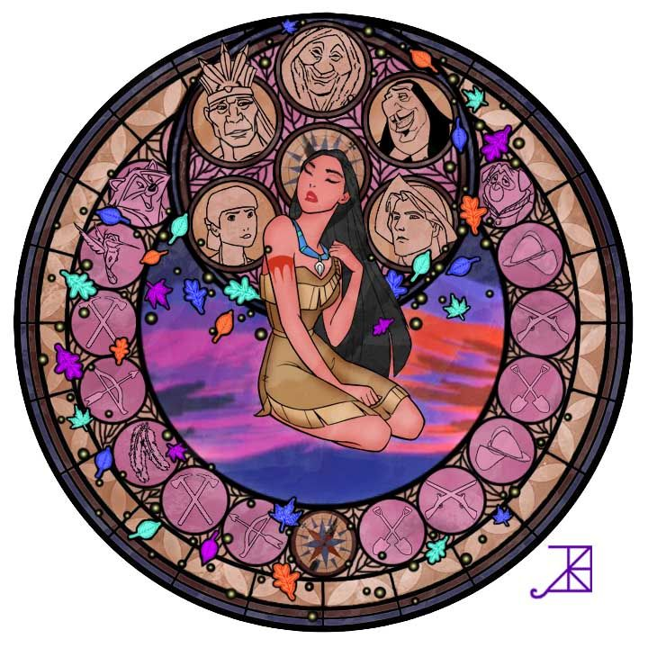 The Women Of Disney In Faux Stained Glass: Pocahontas