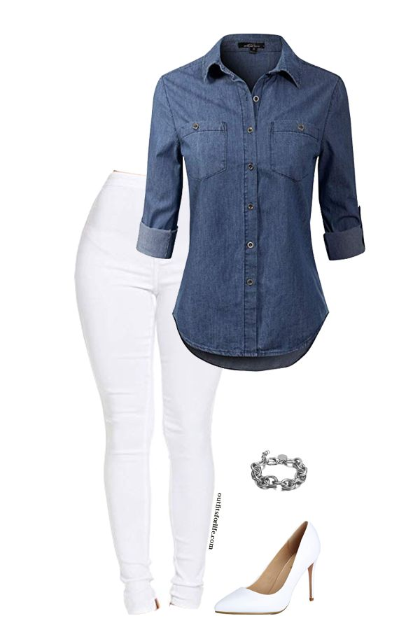 Cute Summer outfit – white jeans & denim top. Love it