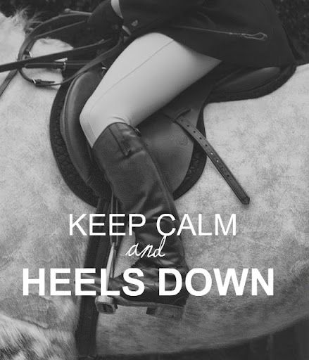 Heels down, eyes up! At first it was so hard. Then i wore my riding boots to school and walked on my heels for a whole day it really helped.