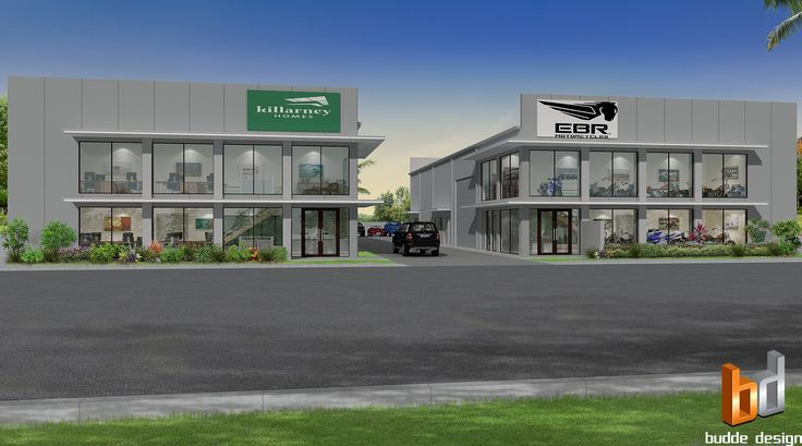 Commercial Warehouse, 3D external render of a proposed commercial office / warehouse. End uses include, office, Motobike shop, Mechanics workshop & Cross Fit Gym - Berrimah NT