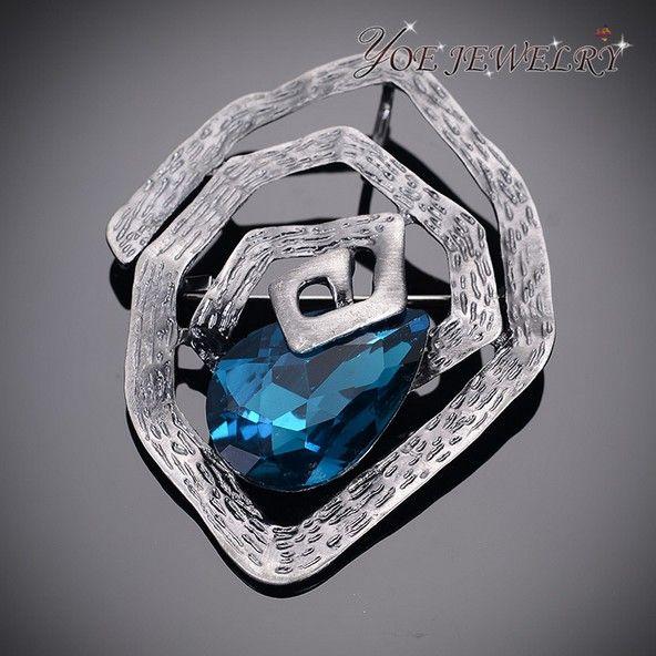 2015 самая последняя конструкция оружейный металл капли воды кристалл броши круг форма старинные булавки мода брошь для женщин сапфир ювелирные изделия.