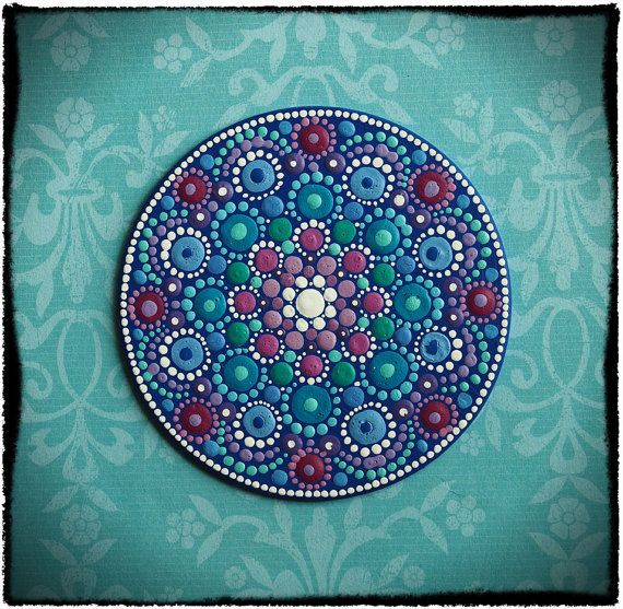 Mini Original Round Painting- Jewel Drop Mandala- Spring to Summer