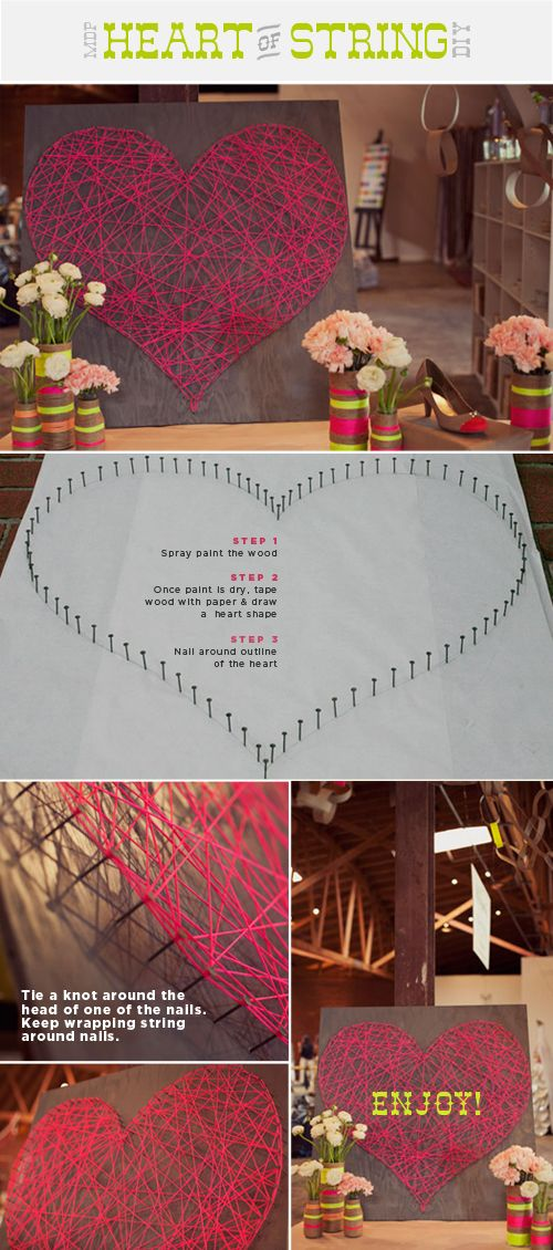 this could be fun-- any shape of string art.Wall Art, Diy Heart, Crafts Ideas, String Heart, Diy Crafts, Heart String, Heart Art, String Art, Stringart