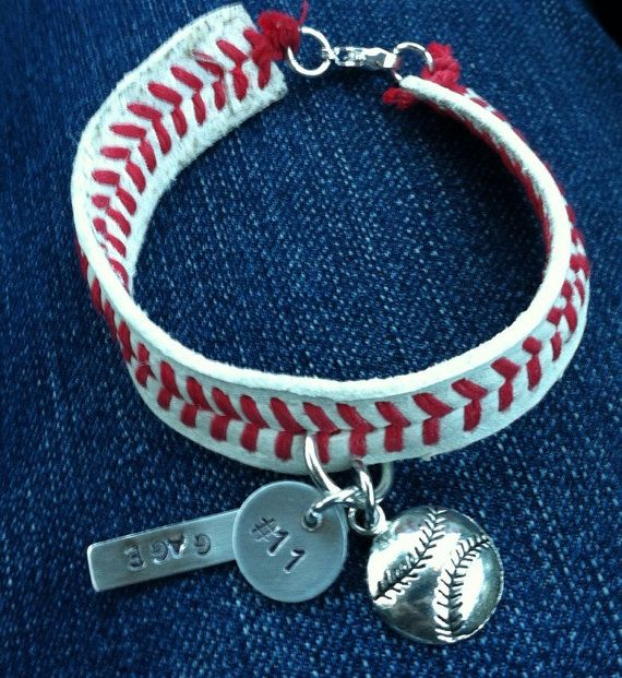 Leather Baseball Seam bracelet with custom handstamped name and number by RusticPickns. Just in time for the baseball season!