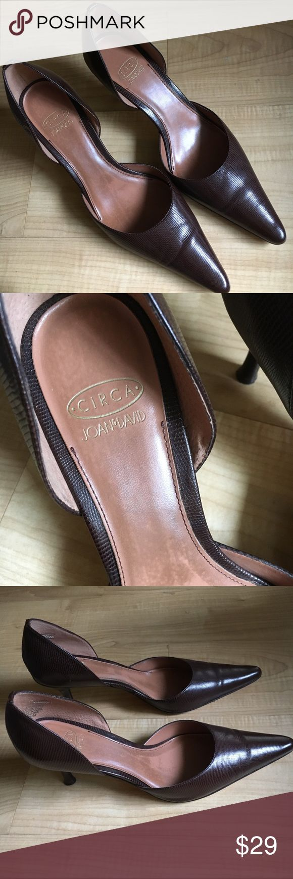 Circa Joan & David Brown Leather Point Heels Fashionable and comfy brown pointed leather heels from Circa Joan & David. In great condition other than the wear on the bottom. Circa Joan & David Shoes Heels