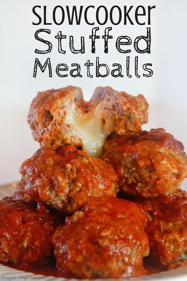 My Slowcooker Cheesy Stuffed Meatballs recipe is a perfect a perfect meal for dinner. Just do the prep in the morning and then throw them in the crockpot.  Your family will be impressed and left wondering how you got that yummy, gooey cheese in there! ad