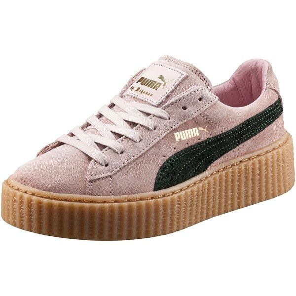 Puma PUMA BY RIHANNA WOMEN'S CREEPER ($120) ❤ liked on Polyvore featuring shoes, puma footwear, laced shoes, platform lace up shoes, cat print shoes and long shoes