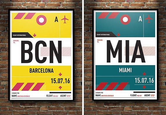 Personalised print in style of vintage luggage tag, Airport Codes, Travel Poster