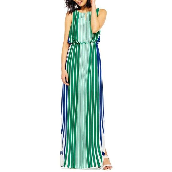 Women's Adrianna Papell Stripe Maxi Dress ($140) ❤ liked on Polyvore featuring dresses, green multi, ruched maxi dress, ruching dress, striped dress, shirred dress and green striped dress