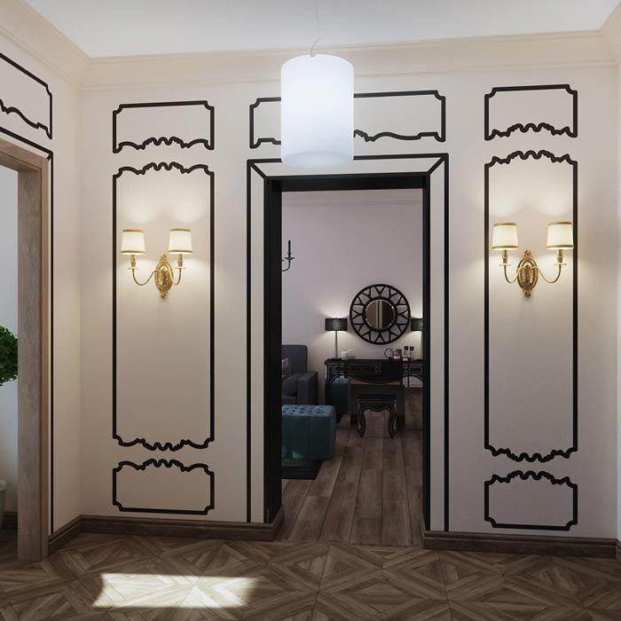 Проект для тех, кто мечтает о классическом стиле, но с иронией относится к тому, что живет в квартире 106 серии. И все же мечта имеет право сбыться: наклейки из винила хорошо держатся и создают иллюзию классических элементов - молдингов, рамок и даже шикарной мебели. Декоративная штукатурка на потолке и хороший текстиль подтверждают это впечатление.