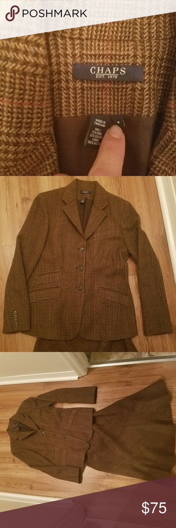 Chaps Ralph Lauren Brown Tweet Skirt Suit 3 button blazer with calf length fitted tulip skirt. Fully lined jacket and skirt. Beautiful brown plaid with stripes of red. Classic style, super quality suit. Gorgeous with a maroon top and gold pumps! Worn once, dry cleaned and hung. Chaps Skirts Skirt Sets