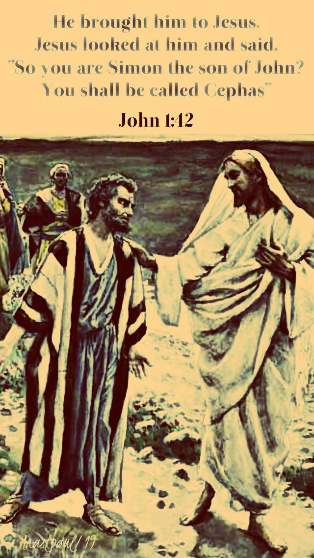 Image result for Jesus meets Simon Peter in John 1:42