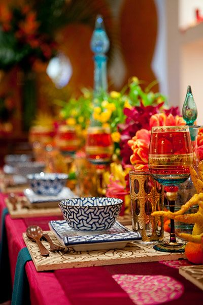 Bohemian/Morrocan Table Setting-love the eclectic mix of colors!