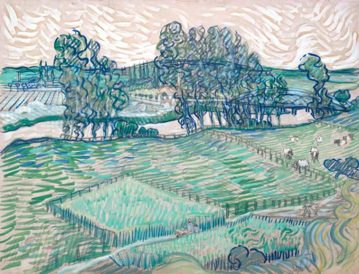 Artwork page for 'The Oise at Auvers', Vincent van Gogh, 1890 This was drawn during the final months of the artist's life, after he moved to Auvers-sur-Oise in May 1890. It represents a view looking across the river Oise towards Méry and the Paris road. The view is taken from the top of a high and very steep embankment above a railway line. The old bridge of Auvers (since replaced by a modern structure) is on the right. The plumy forms in the bottom right-hand corner suggest the smoke of a…