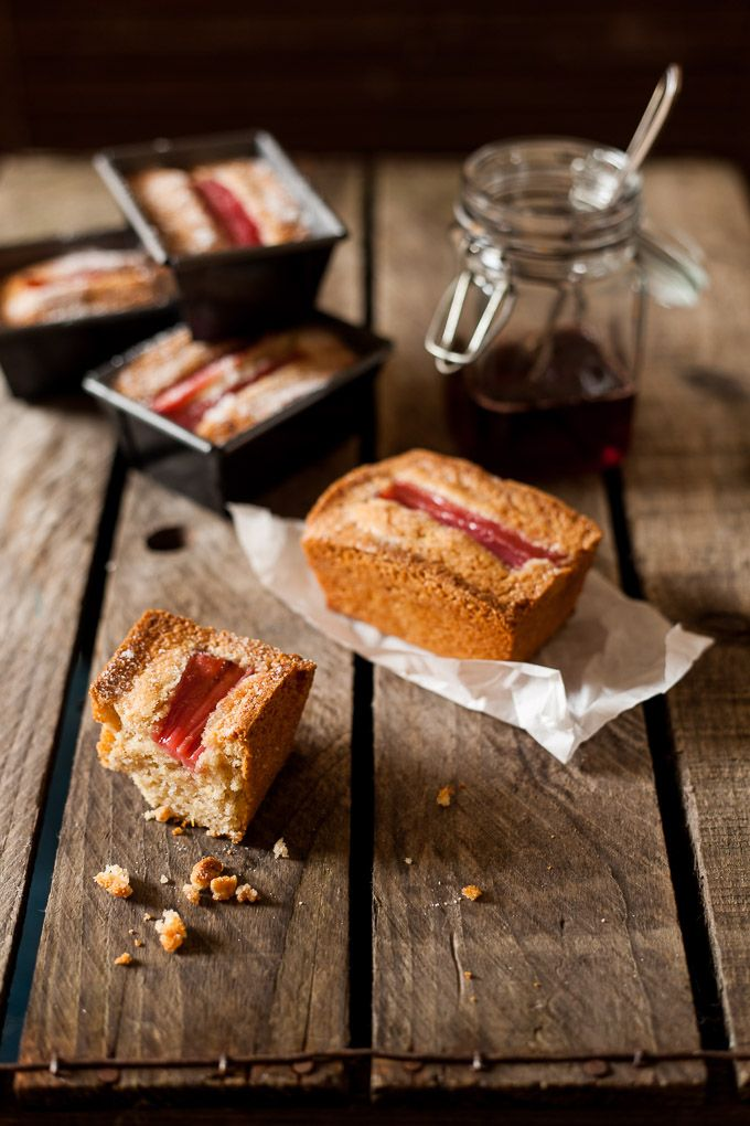 Rhubarb Chestnut Friands. Mini loaf cakes with chestnut flour, poached rhubarb…