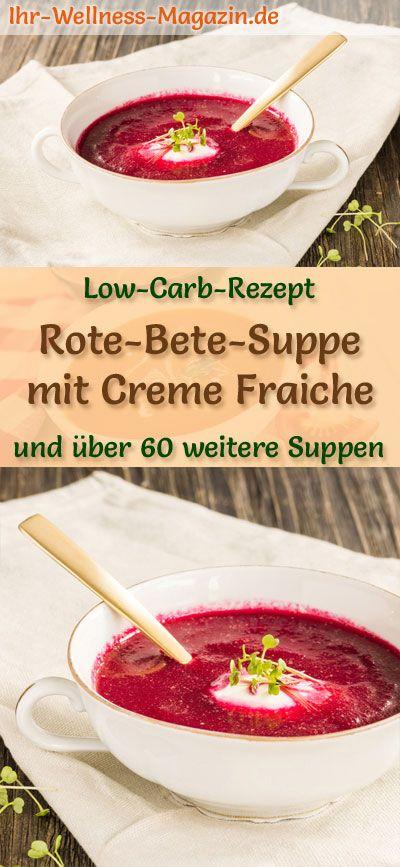Sopa de remolacha baja en carbohidratos con nata fresca – Receta saludable y fácil   – Low Carb Suppen – Rezepte