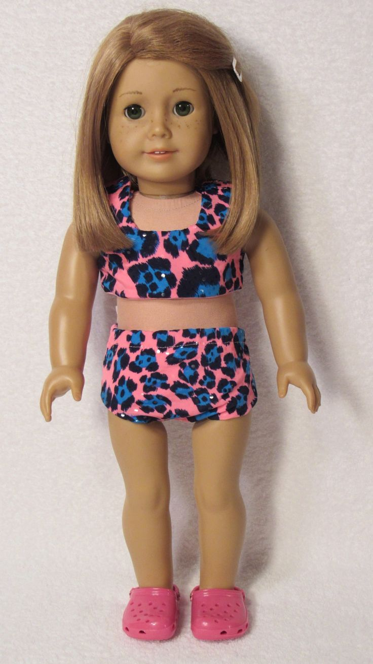 American+Girl+Doll+Pink+and+Aqua+Animal+Print+Two+Piece+Swimsuit