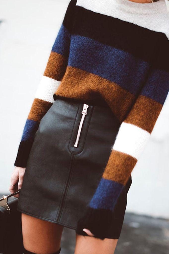 Zipper Faux Leather Skirt