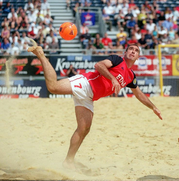 Eric Cantona in action for France during the Kronenbourg cup beach volleyball match against Switzerland