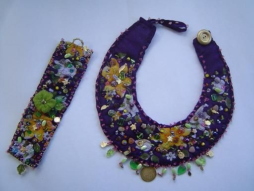 Fabric beaded necklaces   Fabric Necklace Set - Beaded Jewelry Sets