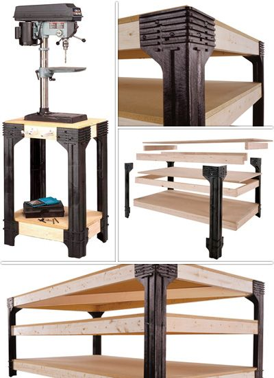 Use the 2x4 Basics Workbench Kit to make a custom workbench to fit anywhere you need a work surface or a storage area. Simply add 2x4s and plywood or particleboard to these leg supports to create a workbench 36in. tall in any length or width up to 8' x 4'. U.S.A Made.