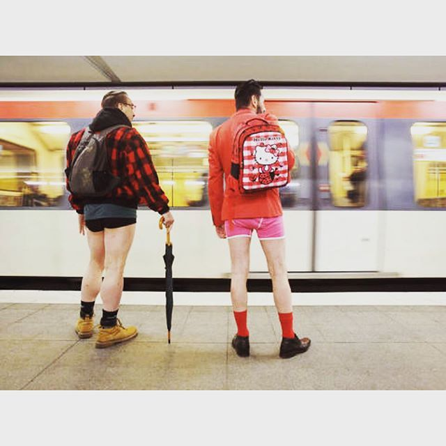 Men without pants wait for a train at the subway station in Hamburg, Germany during the No Pants Subway Ride on January 10, 2016. Credit:BODO MARKS/AFP/Getty Images  #NoPantsSubwayRide #nopantssubwayride2016  #NoPants#Hamburg#Germany