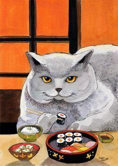 HORA DO ALMOÇO! Quem gosta de sushi, levanta a pata! (arte de Blue Birdie)