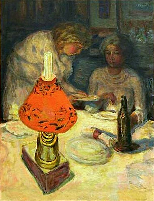 Pierre Bonnard - Souper à L'Abat-Jour (The Orange Light Shade), 1908