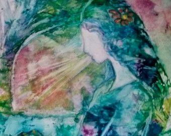 Prophetic Art Christian Art of Woman in watercolor by ExpressivePaintings