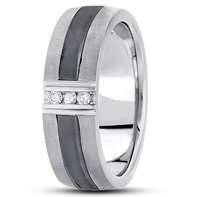 Men's Diamond Wedding Band with Black Rhodium in the middle. Keeping it classy with this band from Unique Settings of New York