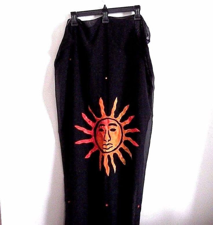 Sheer Black Resort Wear Maxi Sarong Bathing Suit Wrap 43 x 68 #RimaBeachwear #CoverUp