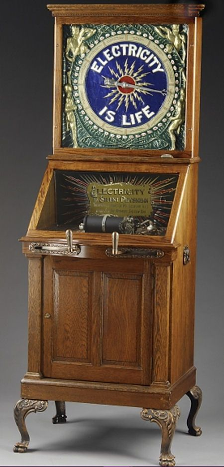 """Mills """"Electricity is Life"""". Carnival sideshows often had a place in their penny arcades for electrotherapy where entrepreneurs saw a commercial opportunity in diagnosing and treating medical conditions."""