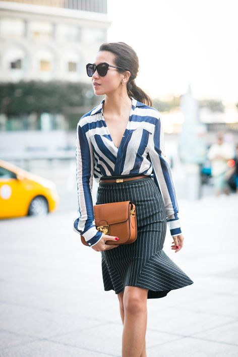 Try stripes on stripes! For the most flattering look, opt for two different stripe widths in different hues.