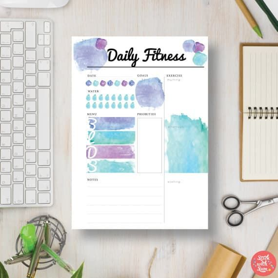 This colourful template can be a planner insert, or stand on its own. The printable focusses on helping you get through your daily workout, and offers additional space for tracking your meals and water intake.Get it for £1.69 here.