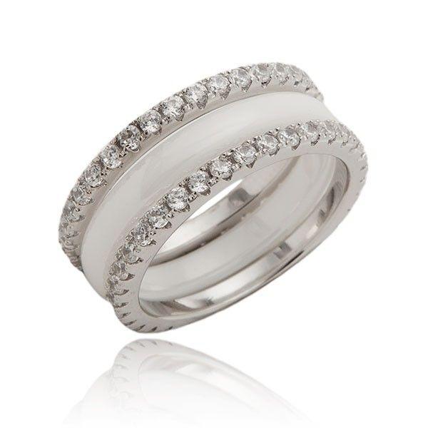 Obrączka srebrna z ceramiki i kryształów TANIO!