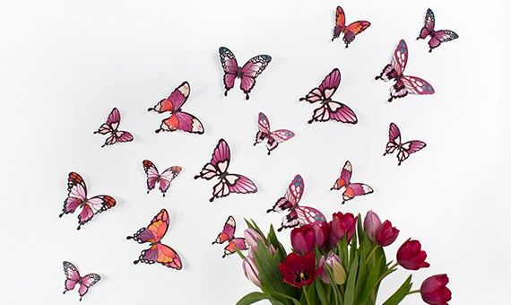 Wandtattoo 3D - Schmetterlinge - Pinktöne http://www.wandkings.de/wandtattoo-3d-schmetterlinge-pinktoene.html