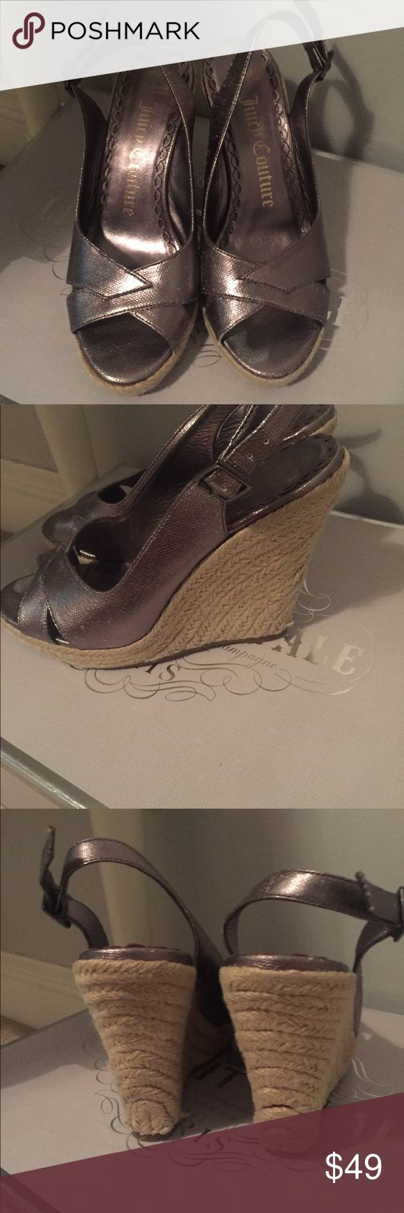 Juicy couture silver espadrille wedges 7.5 Lightly worn! Juicy Couture Shoes Wedges