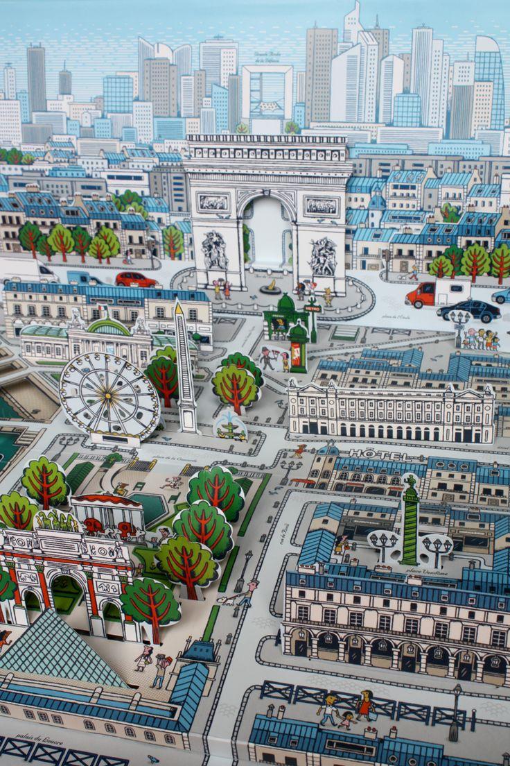 Pop-up Paris Map book by Sylvie Bessard PARIS / Editions Milan. 2013  http://www.sylvie-bessard.com